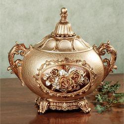 Golden Rose Covered Jar