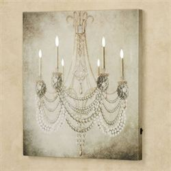 Vintage Chandelier LED Canvas Wall Art Oyster