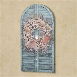 Seashell Shutter LED Canvas Wall Art Blue/Tan