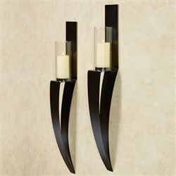 Landers Wall Sconces Black Pair
