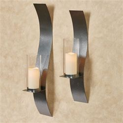 Sinuous Wall Sconces Antique Pewter Set Of Two