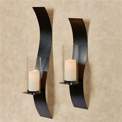 Sinuous Wall Sconces Black Set of Two