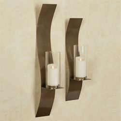 Merveilleux Sinuous Wall Sconces Antique Gold Set Of Two