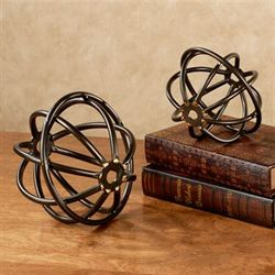 Sphere Tabletop Accents Bronze Set of Two