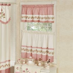 blush rose embroidered floral window tier and valance set - Kitchen Window Curtains