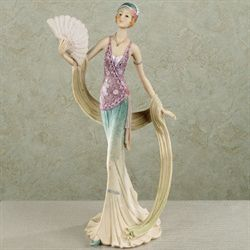 Elegant Soiree Lady Figurine Aqua and Lilac