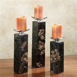 Deep Woods Candleholder Set Black Set of Three
