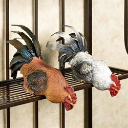 Rooster Shelf Sitter Set Multi Earth Set of Two