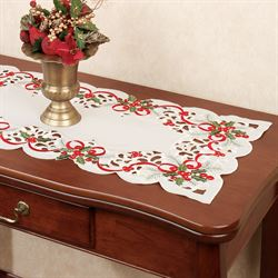 Classic Holly and Ribbon Table Runner Ivory 16 x 36
