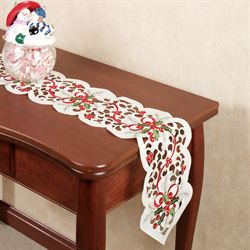 Classic Holly and Ribbon Long Table Runner Ivory 9 x 60