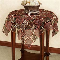 Autumn Leaves Table Topper Chocolate 36 x 36
