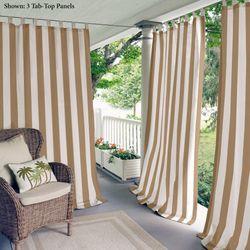 Highland Stripe Tab Top Curtain Panel Light Brown