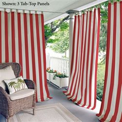 Highland Stripe Tab Top Curtain Panel Red
