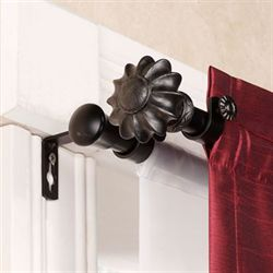 Flair Black Double Curtain Rod Set