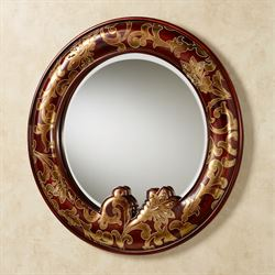 Gentiana Round Wall Mirror Redwood
