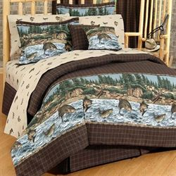 River Fishing Comforter Set Chocolate