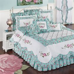 Rose Garden Quilt Set White