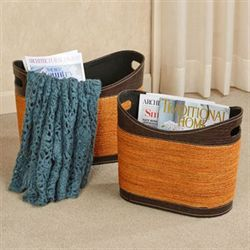 Vidonia Magazine Baskets Orange Set of Two
