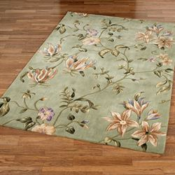 Secret Floral Rectangle Rug Sage