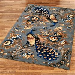 Majestic Peacock Rectangle Rug Slate Gray