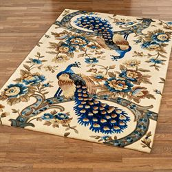 Majestic Peacock Rectangle Rug Vanilla