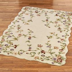 Floral Jubilee Rectangle Rug Light Cream