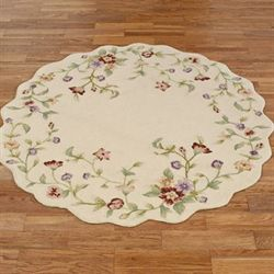 Floral Jubilee Round Rug Light Cream 56 Round