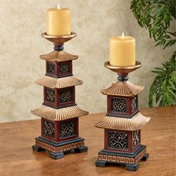 Oriental Pagoda Candleholders Rosewood Set of Two