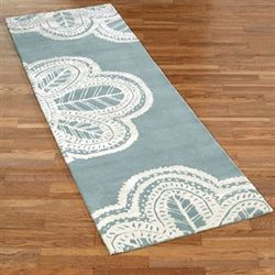 Antique Lace Rug Runner Parisian Blue 26 x 8