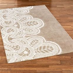 Antique Lace Rectangle Rug Taupe