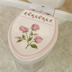 Bridal Rose Floral Elongated Toilet Seat