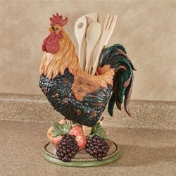 Tuscany Rooster Utensil Holder Multi Jewel