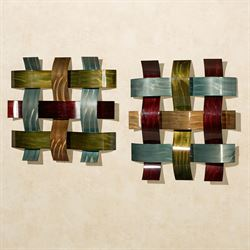 Ayano Factory Second Woven Metal Wall Art Multi Cool Set of Two
