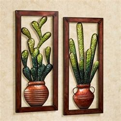 Cactus Wall Art Brown Set of Two