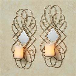 Avalaine Mirrored Wall Sconces Antique Gold Pair