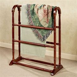 Aubrie Solid Wood Blanket Rack Classic Cherry