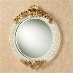 Aberrant Acanthus Round Wall Mirror Ivory