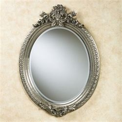 Regal Rosa Aged Silver Oval Wall Mirror