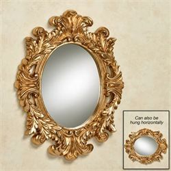 Angelic Acanthus Oval Wall Mirror Aged Gold