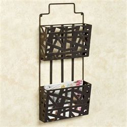 Modern Symmetry Wall Magazine Rack Antique Bronze Double