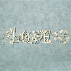 Love Word Wall Art Creamy Gold