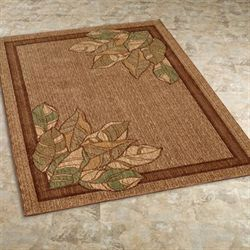 Urban Leaves Rectangle Rug Brown