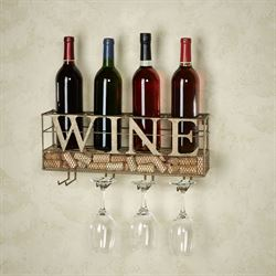 Modern Wine and Stemware Rack Antique Gold