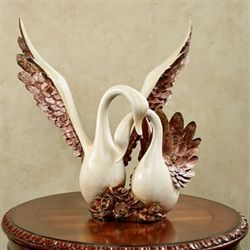 Wings of Love Swans Sculpture Ivory Gold