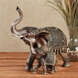 Nurturing Elephant Sculpture Brown