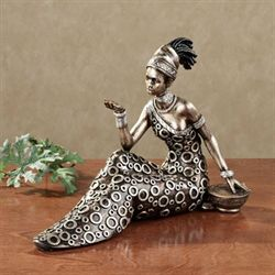 Beckon Masai Woman Figurine Brushed Bronze