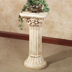 Corinthian Column Pedestal Ivory Wash