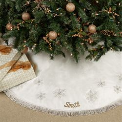 Elegant Snowflake Tree Skirt 56 Diameter
