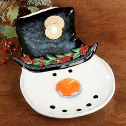 Top Hat Snowman Serving Platter Black/White