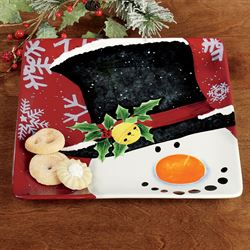 Top Hat Snowman Square Platter Red